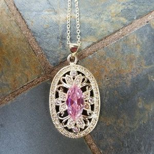 Jewelry - Sterling Silver & Pink Crystal Pendant Necklace